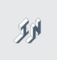 In - logo or 2-letter code isometric 3d font vector