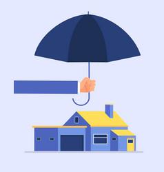 insurer hand holding umbrella over house houses vector image