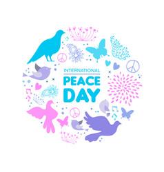 International peace day dove bird icon card vector