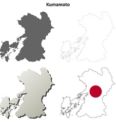 Kumamoto blank outline map set vector