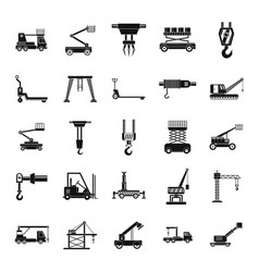 lifting machine icons set simple style vector image