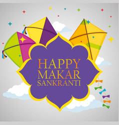 Makar sankranti emblem with kites style vector