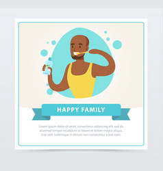 man brushing his teeth happy family banner flat vector image