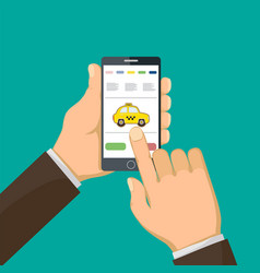 man is holding a smart phone and call a taxi vector image