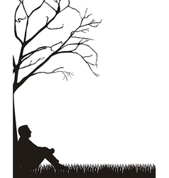 Man sitting silhouette over grass white background vector