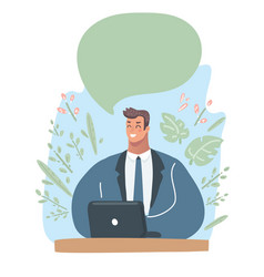 man with laptop vector image