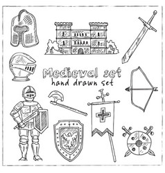 medieval hand drawn set collection vector image