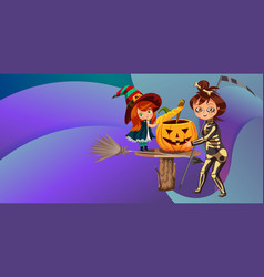 Mom and daughter in halloween costumes poster vector