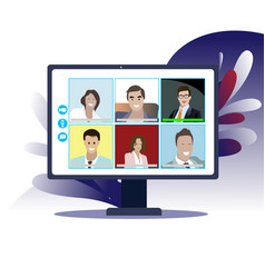 Online business conference in isolation period vector