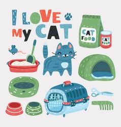 pet grooming set vector image