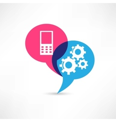 Phone and gear icon vector