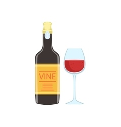 Red Wine Bottle And Glass Portuguese Famous Symbol vector image