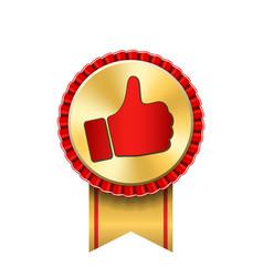 Ribbon award up thumb gold icon gesture success vector