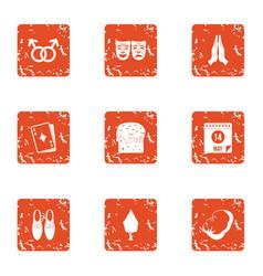 Romance novel icons set grunge style vector