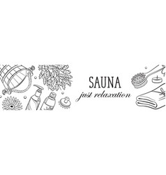 Sauna sketches poster vector