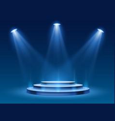 Scene podium with blue light stage platform vector