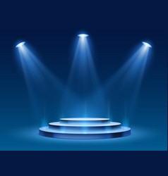 scene podium with blue light stage platform with vector image