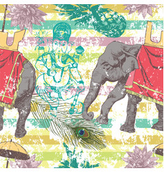 Seamless pattern with indian elephant flowers vector