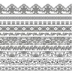 set floral elements for ethnic decor vector image
