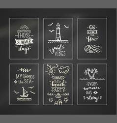 set of 6 pre-made chalk ocean greeting cards vector image