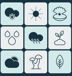 set of 9 ecology icons includes raindrop cold vector image