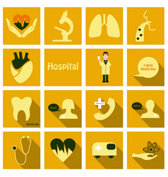 Set of medicine icons in flat style with long vector