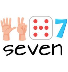 set of number seven symbol vector image