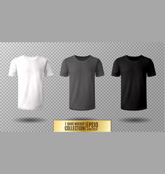 Shirt mock up set t-shirt template black gray vector