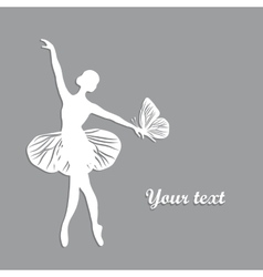 silhouette dancing girl with butterfly vector image