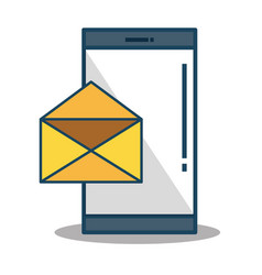 Smartphone device with envelope isolated icon vector
