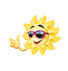 Smiling sun in sunglasses show vector