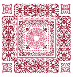 Square frame template bandana with vintage vector