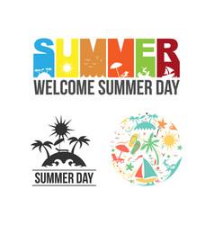 summer logo icon set design vector image