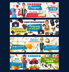 tailor and engineer farmer and photographer vector image