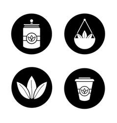 Tea glyph icons set vector