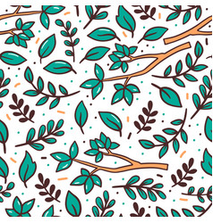 Tree branches flat seamless pattern vector