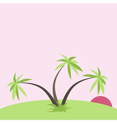 Tropical sunset with palms vector