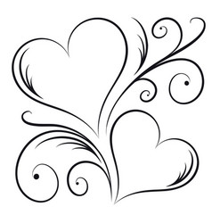 Two hearts with swirl elements vector