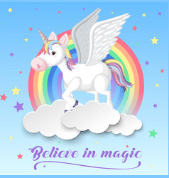 Unicorn with wings on clouds vector