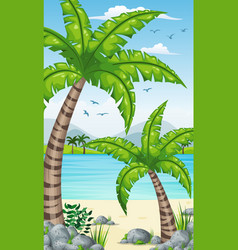 vertical tropical coastal background for mobile vector image