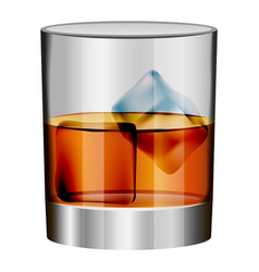Whiskey glass mockup realistic style vector