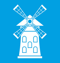 Windmill icon white vector