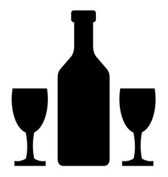 wine bottle and glass icon vector image