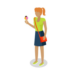 Woman in casual cloth eats ice cream vector