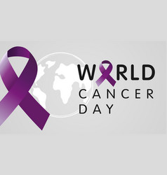World cancer day with globe vector