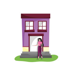 Young woman standing front house ladder vector