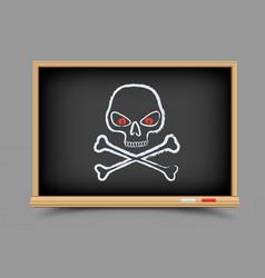 blackboard skull pirate lesson vector image