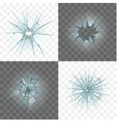 broken and damaged glass set vector image