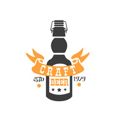 creative emblem with bottle of craft beer vector image vector image