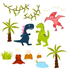 Dinosaur and jungle tree clipart set vector image vector image
